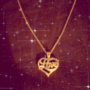 10k gold love pendant necklace
